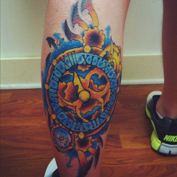 Color Steampunk Clock Tattoo On Back Leg