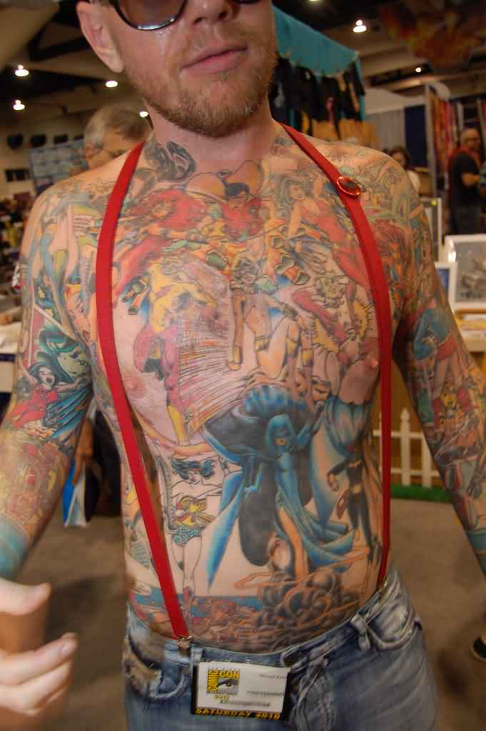 Colorful 3D Tattoos On Body Of Guy