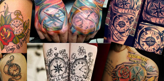 Colorful Compass And Clock Tattoos Images