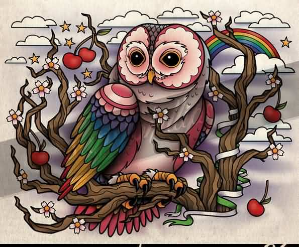 Colorful Owl On Tree Tattoo Print
