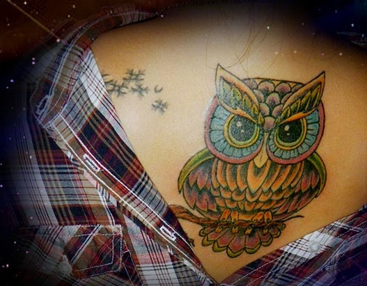 Colorful Owl Tattoo Fashion For Girls