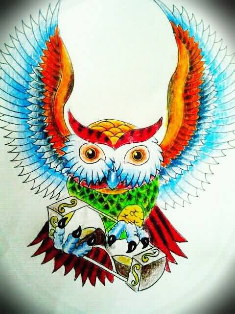 Colorful Owl With Sandclock Tattoo Design