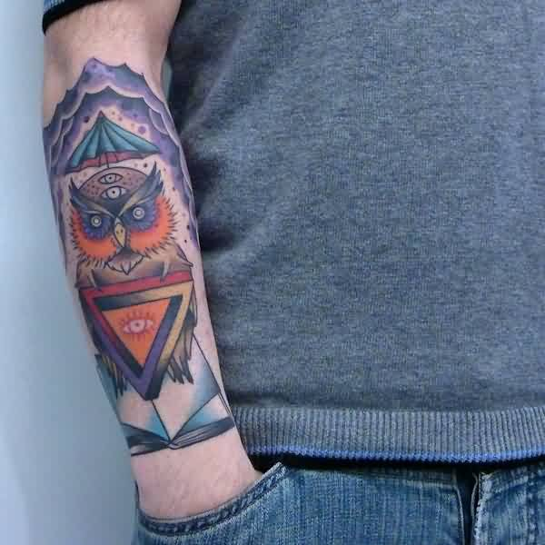 Colorful Owl With Triangle Eye Tattoo On Right Arm