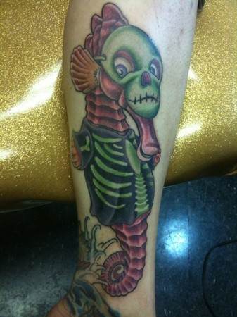 Colorful Seahorse Skeleton Tattoo