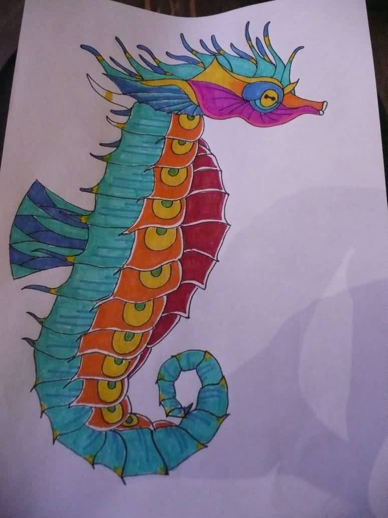 Colorful Seahorse Tattoo Page