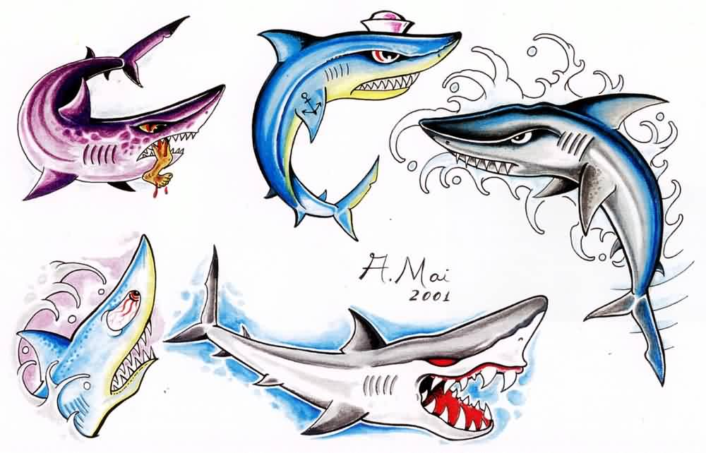 Colorful Shark Tattoo Designs