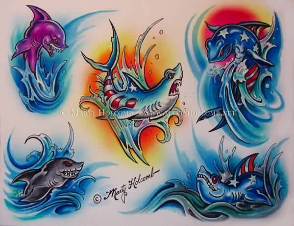 Colorful Shark Tattoos Sheet