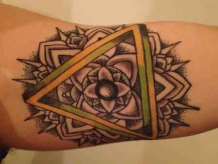 Colorful Triangle And Dotwork Mandala Tattoos