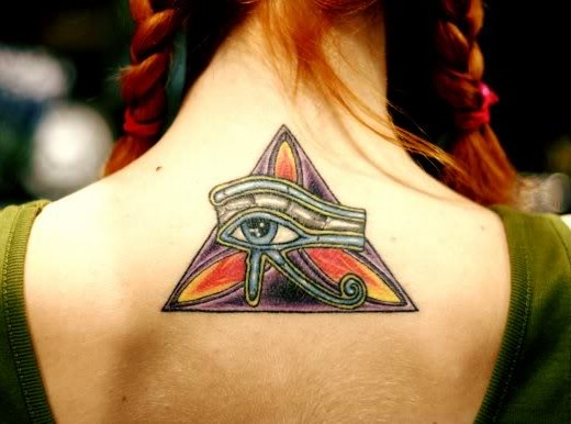 Colorful Triangle And Egyptian Eye Tattoos
