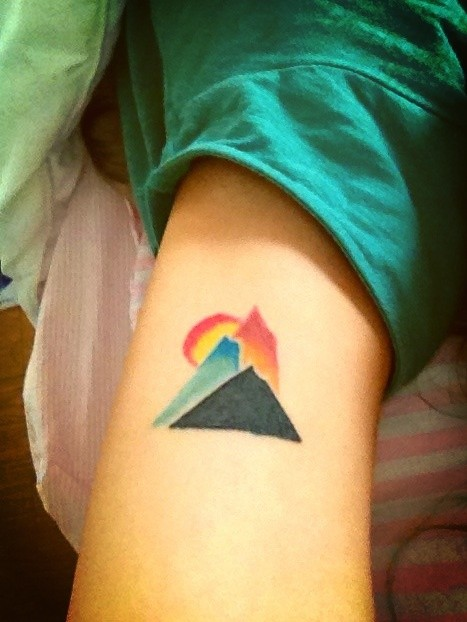 Colorful Triangle Shape Mountain Tattoos