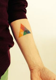 Colorful Triangle Tattoo On Forearm