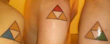 Colorful Triforce Triangle Tattoos For Best Friends