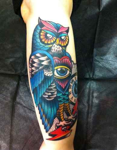 Colourful Owl And Clock Tattoos