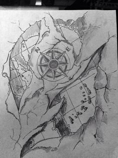 Comass And Map Tattoos Sketch