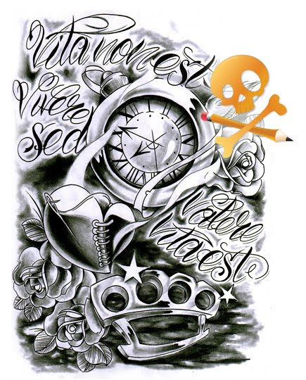 Commission Clock And Knuckle Tattoo Design
