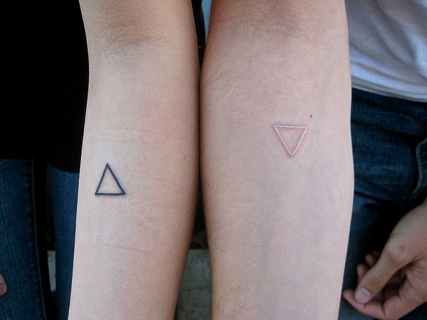 Commitment Triangle Tattoos Of Couple