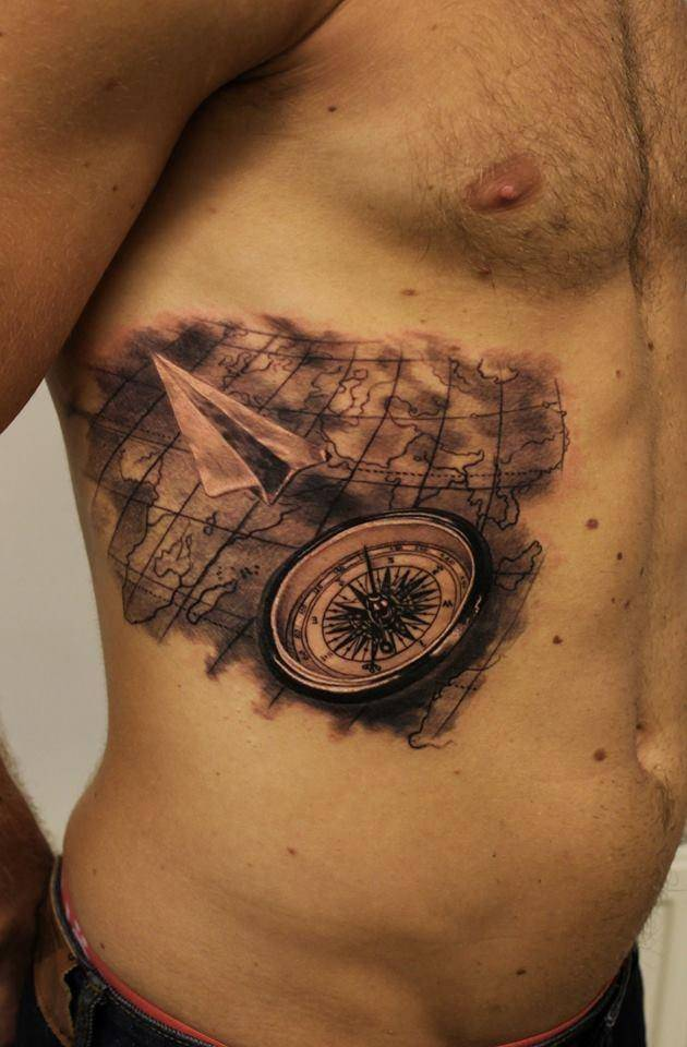 Compass And Map Tattoos On Side Stomach