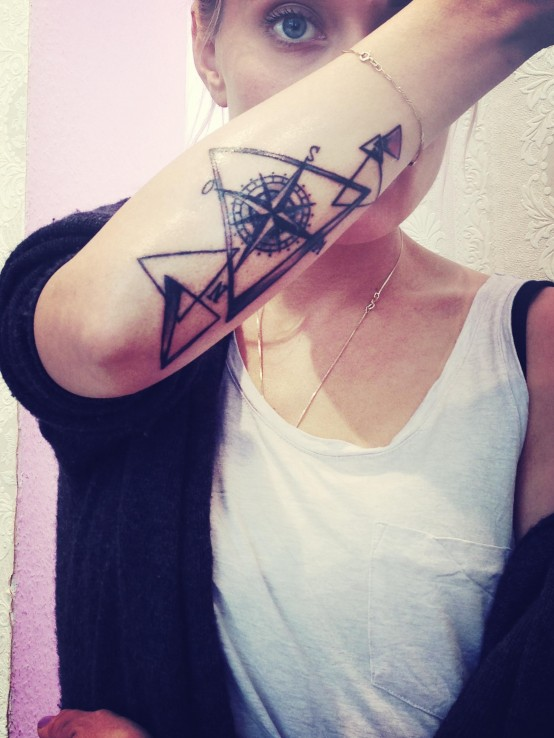 Compass And Triangle Tattoos On Forearm
