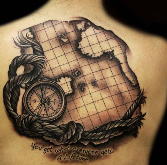 Compass Rope And Map Tattoos On Back
