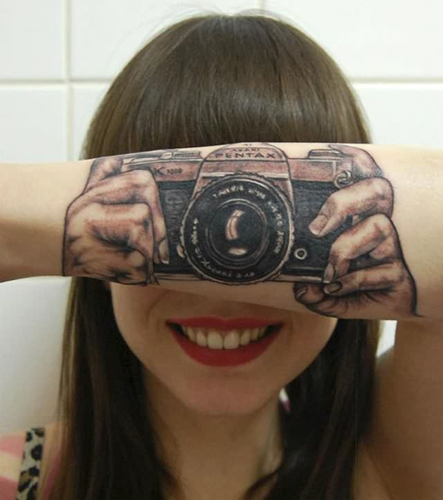 Cool 3D Camera Tattoo For Girls