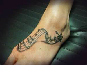 Cool 3D Music Tattoo On Foot