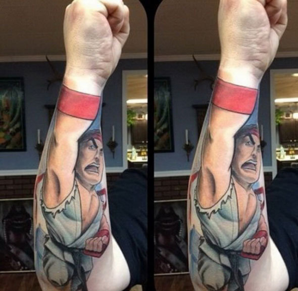 Cool 3D Street Fighter Tattoo On Arm For Boys