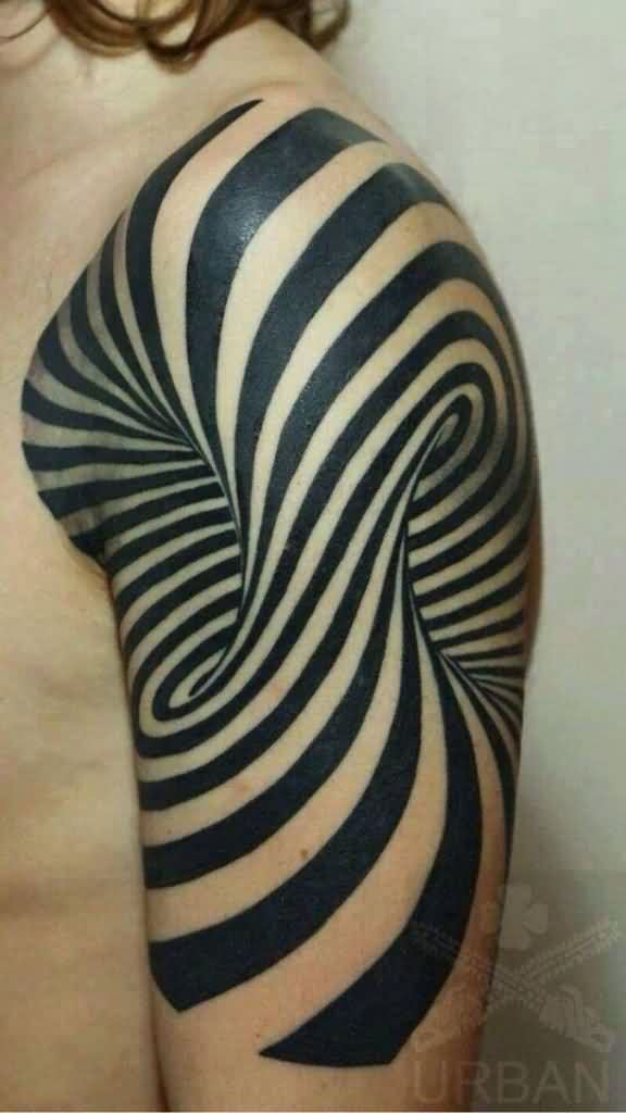 Cool 3D Tattoo On Half Sleeve