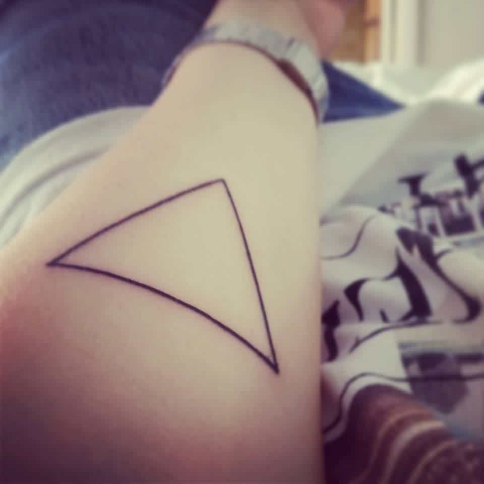 Cool Black Outline Triangle Tattoo On Forearm