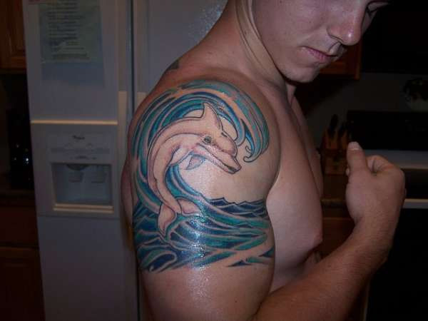 Cool Blue Waves And Dolphin Tattoos On Shoulder For Men