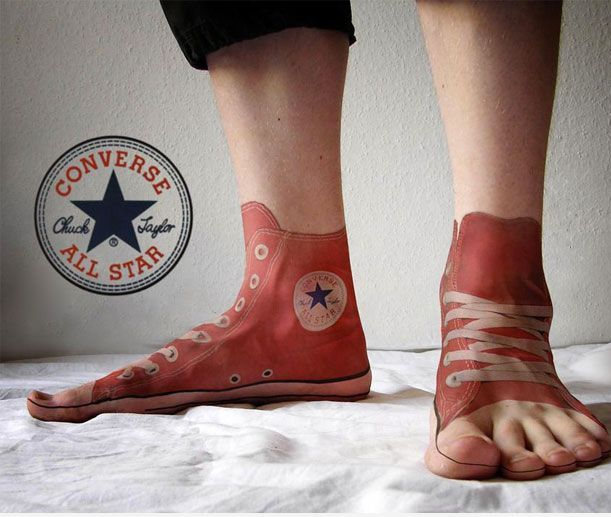 Cool Funny 3D Red Shoe Tattoos On Feet For Boys