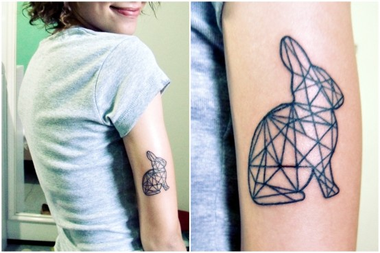 Cool Geometric Rabbit Tattoo On Arm For Girls