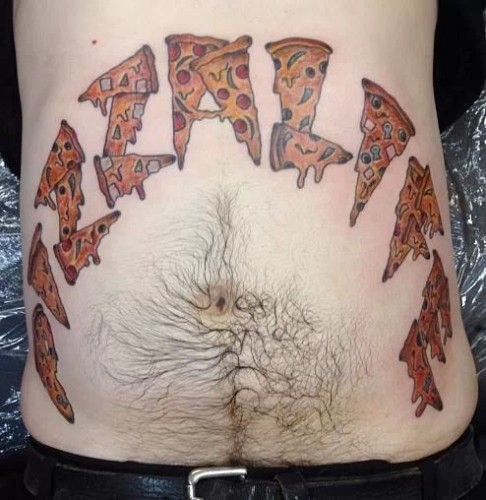 Cool Pizza Life Tattoo On Stomach