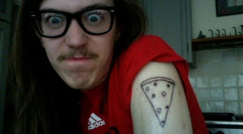 Cool Pizza Slice Tattoo On Shoulder For Guys