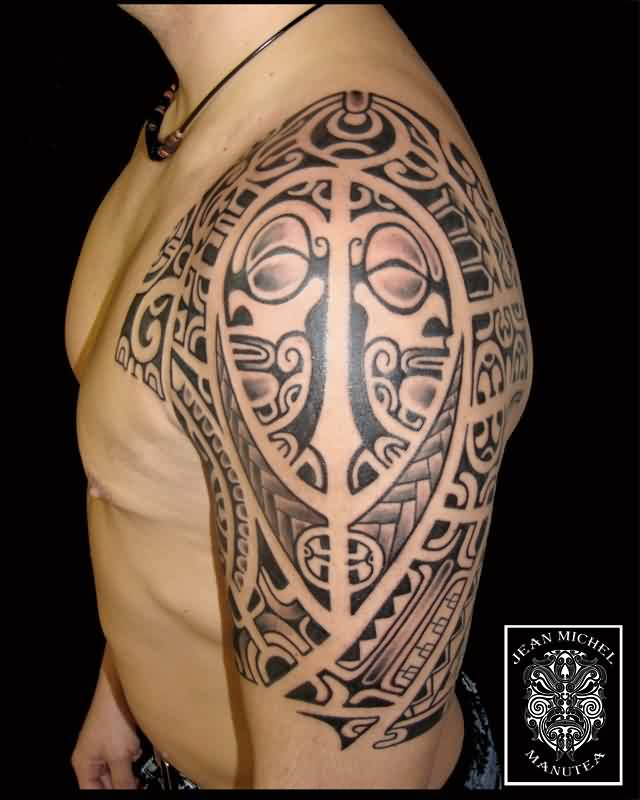 Cool Polynesian Tattoo On Half Sleeve