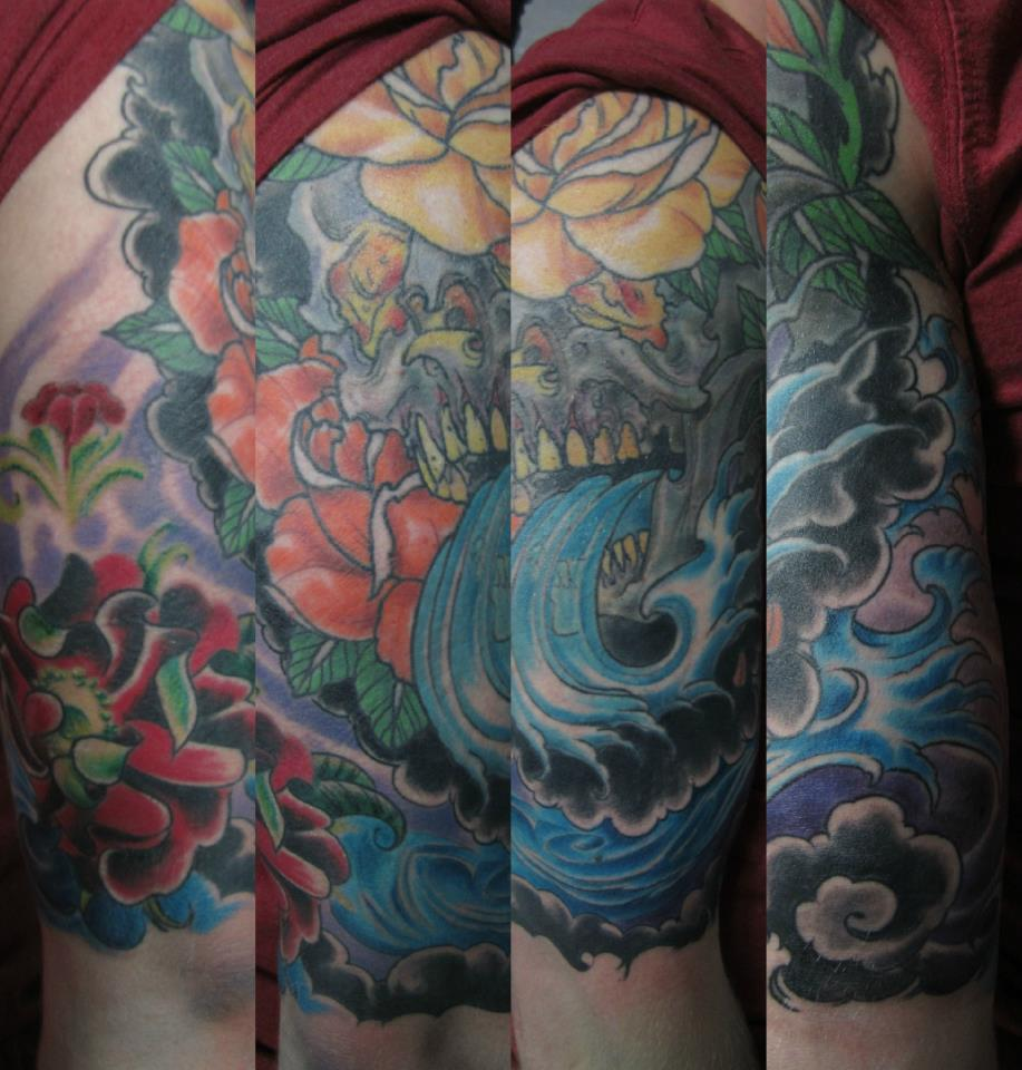 Cool Skull And Waves Tattoos On Sleeve