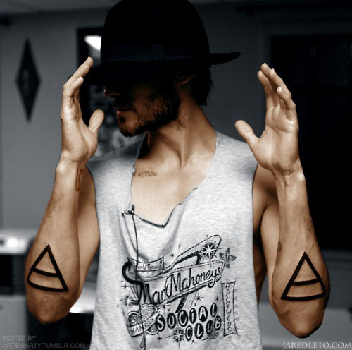 Cool Triangle Tattoos On Both Arms Of Guy