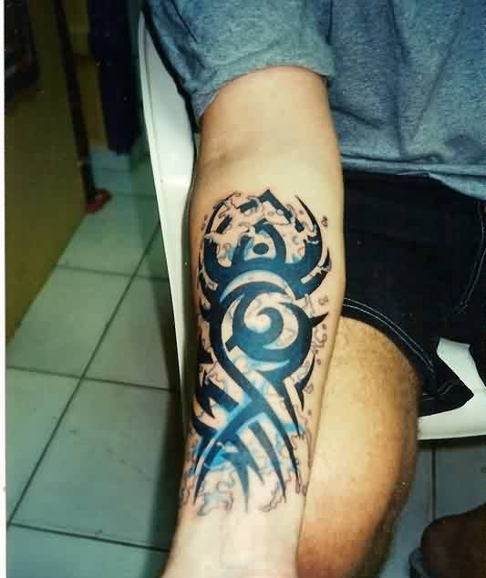 Cool Tribal Waves Tattoos On Forearm For Boys