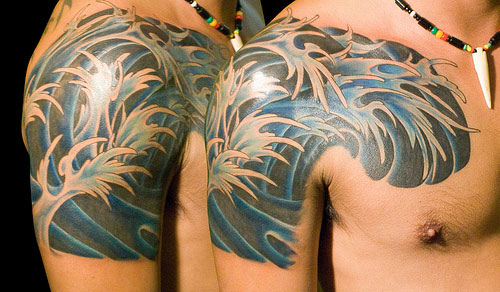 Cool Wave Tattoos On Shoulder And Chest