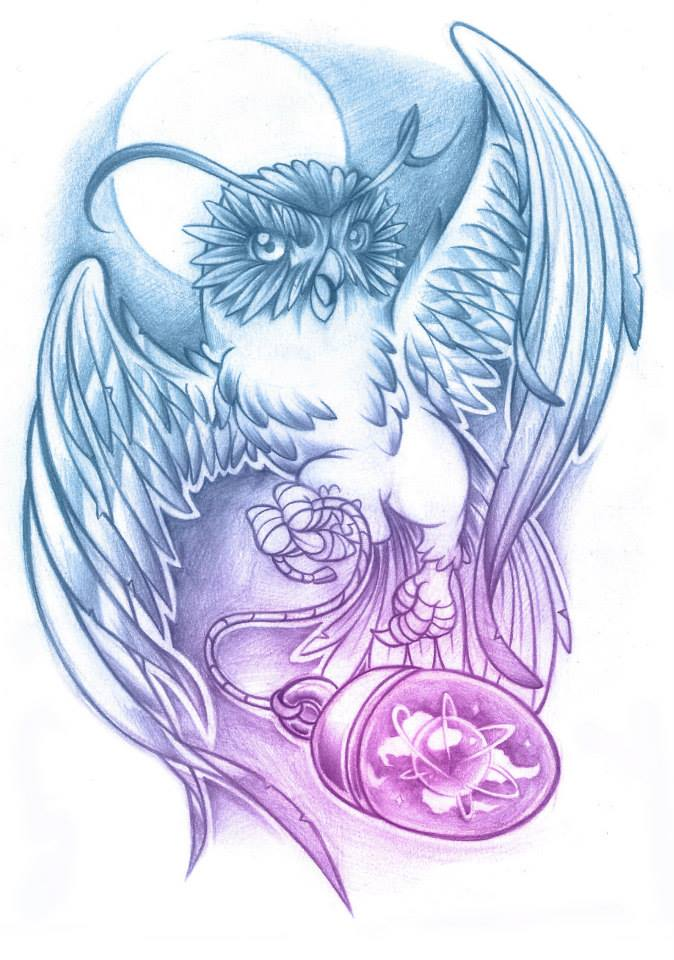 Cosmic Owl Tattoo Design