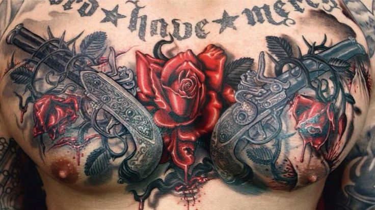 Couple Of 3D Guns And Bleeding Rose Tattoos On Full Chest