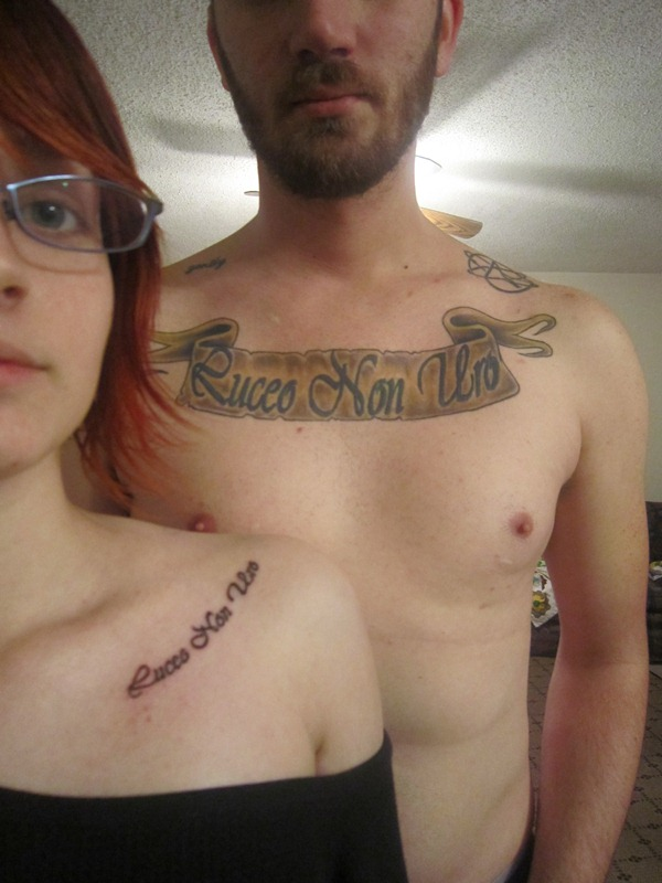 Couple With Collarbone Tattoos