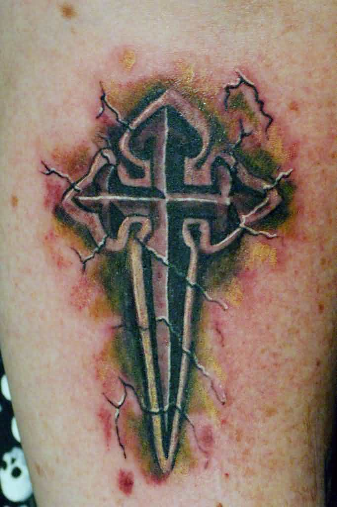 Cracked 3D Stone Cross Tattoo