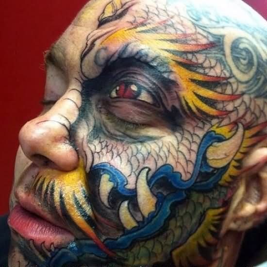 Crazy Color 3D Tattoos On Face