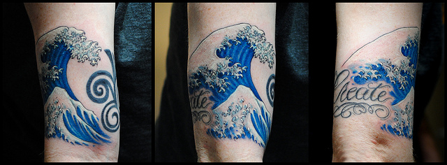 Create Waves Tattoo On Arm