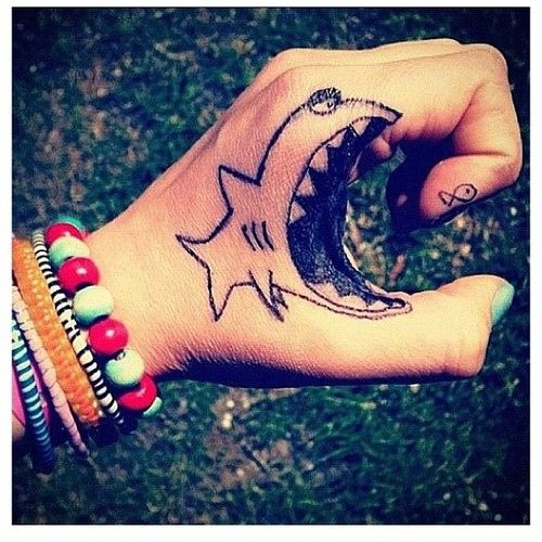 Creative Open Mouth Shark Tattoo On Hand