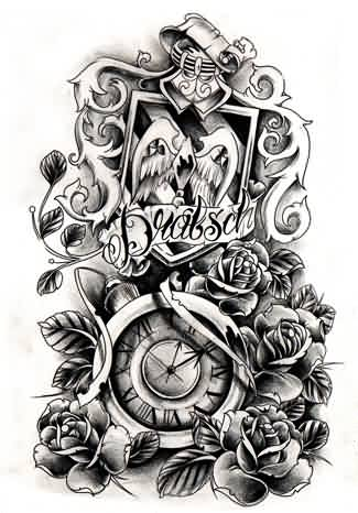 New Crest Clock And Roses Tattoo Designs