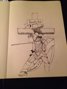 Cross And Spartan Warrior Tattoo Design