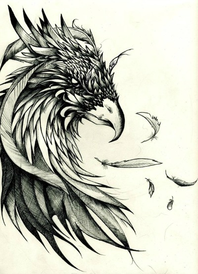 Crow And Feather Tattoos Print