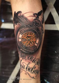 Crow And Gear Clock Tattoos On Leg