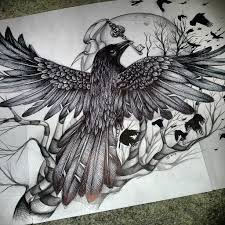 Crow And Key Tattoos Drawing